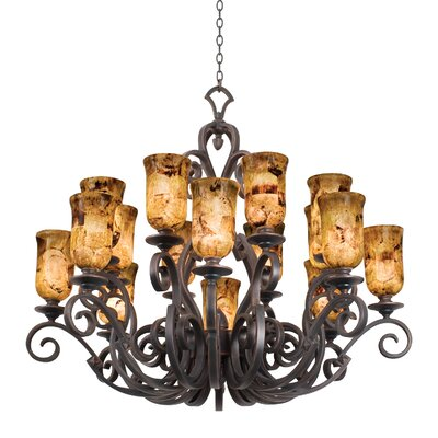 Ibiza 16-Light Shaded Chandelier Finish: Antique Copper, Shade Type: Gold-streaked Amber