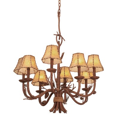 Ponderosa 8-Light Shaded Chandelier Shade Type: Leather-Wrapped