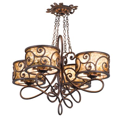 Windsor 16-Light Drum Chandelier Finish: Antique Copper, Shade: Tea stained mica shade