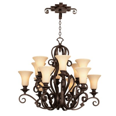 Ibiza 12-Light Shaded Chandelier Finish: Antique Copper, Shade Type: Gold-streaked Amber