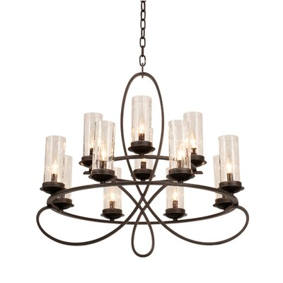 Grayson 12-Light Candle-Style Chandelier Shade Type: Penshell Side