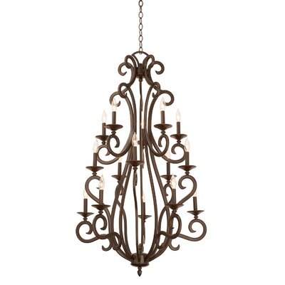 Santa Barbara 15-Light Candle-Style Chandelier Shade Color: Beige Drum