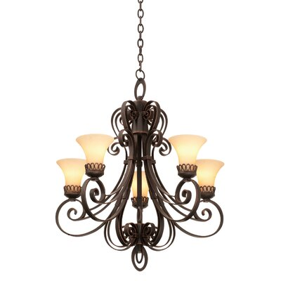 Mirabelle 5-Light Shaded Chandelier Finish: Antique Copper, Shade Type: Travertine