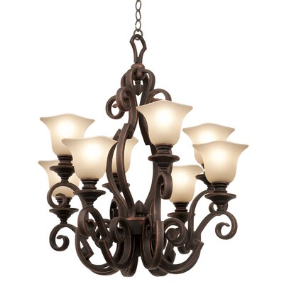 Ibiza 8-Light Shaded Chandelier Shade Type: Champagne Small Oval Glass, Finish: Antique Copper