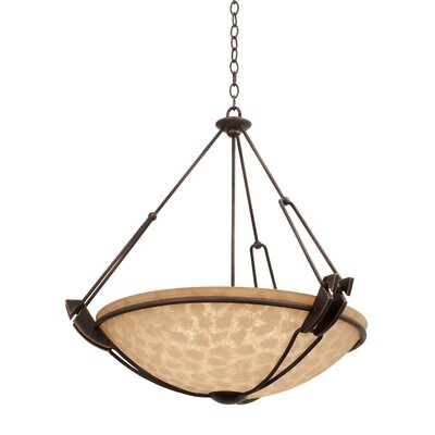Grande 6-Light Bowl Pendant Finish: Antique Copper, Shade Type: Buddha Leaf