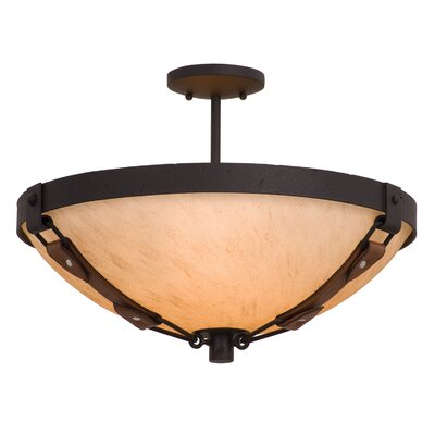 Rodeo Dr. 3-Light Semi Flush Mount Finish: Antique Copper, Shade Type: Victorian Penshell