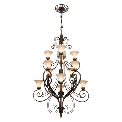 Mirabelle 12-Light Shaded Chandelier Finish: Antique Copper, Shade Type: Stone - 1577