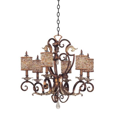 Chesapeake 6-Light Shaded Chandelier Shade Type: Color Beaded Tapered, Finish: Tuscan Gold