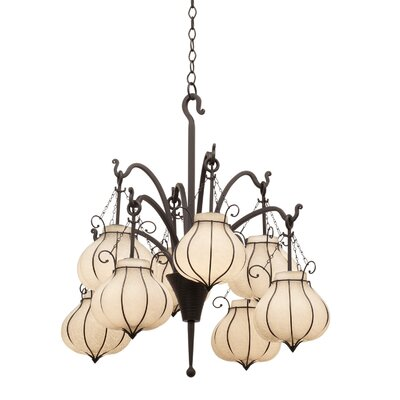 Mardi Gras 8-Light Shaded Chandelier Shade Type: White - 1433
