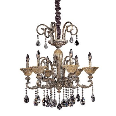 Legrenzi 6-Light Crystal Chandelier Crystal: Firenze Clear, Finish: Two-Tone Gold /24K