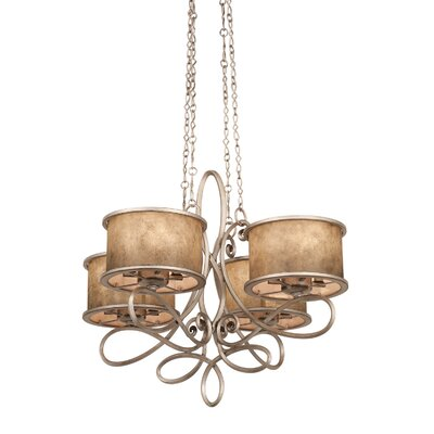 Whitfield 20-Light Drum Chandelier Finish: Antique Copper, Shade: Shade, Stained Champagne Mica
