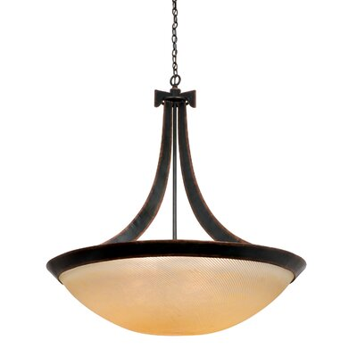 Copenhagen 6-Light Bowl Pendant Shade Type: White Alabaster, Finish: Tortoise Shell