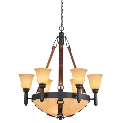 Rodeo Drive 9-Light Candle-Style Chandelier Finish: Black, Shade Color: Gold Streaked Amber/Ecru