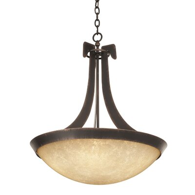 Copenhagen 6-Light Bowl Pendant Shade Type: Victorian Penshell, Finish: Antique Copper
