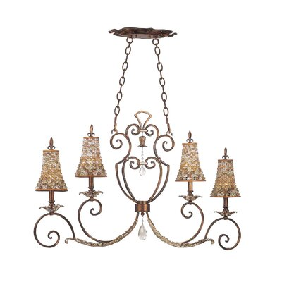 Chesapeake 4-Light Kitchen Island Pendant Shade Type: Color Beaded Drum, Finish: Tuscan Gold