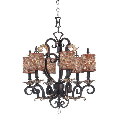 Chesapeake 6-Light Shaded Chandelier Shade Type: Clear Beaded Tapered, Finish: Sienna Bronze