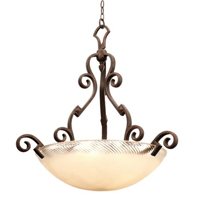 Ibiza 5-Light Bowl Pendant Finish: Antique Copper, Shade Type: Gold-streaked Amber