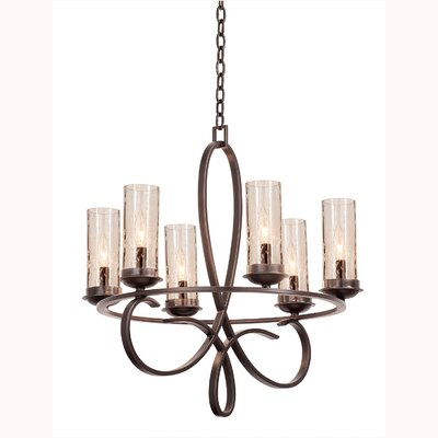 Grayson 6-Light Candle-Style Chandelier Shade Type: Black Iridescent Side