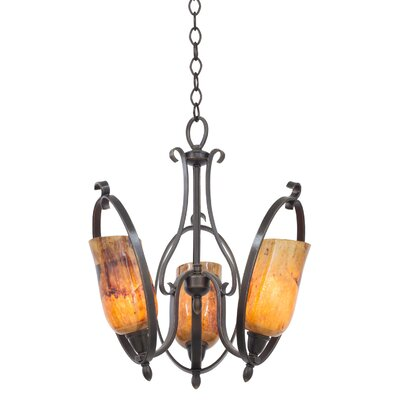 Mateo 3-Light Mini Chandelier Finish: Hierloom Bronze, Shade Color: Penshell