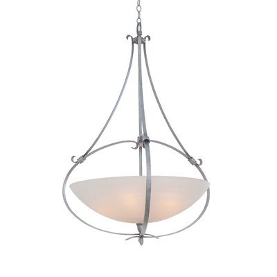 Mateo 5-Light Bowl Pendant Finish: Flecked Iron, Shade Color: Matte Opal Glass