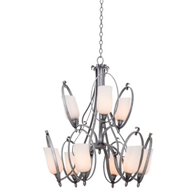 Mateo 9-Light Candle-Style Chandelier Finish: Flecked Iron, Shade Color: Matte Opal Glass