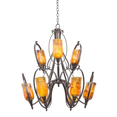 Mateo 9-Light Candle-Style Chandelier Finish: Hierloom Bronze, Shade Color: Penshell