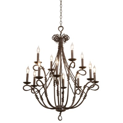 Vine 12-Light Candle-Style Chandelier Shade Type: Clear Glass Hurricane for Candle