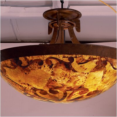Copenhagen 3-Light Semi Flush Mount Finish: Antique Copper, Shade Type: Gold Streak Amber
