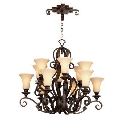Ibiza 12-Light Shaded Chandelier Finish: Antique Copper, Shade Type: Golden Beige Organza