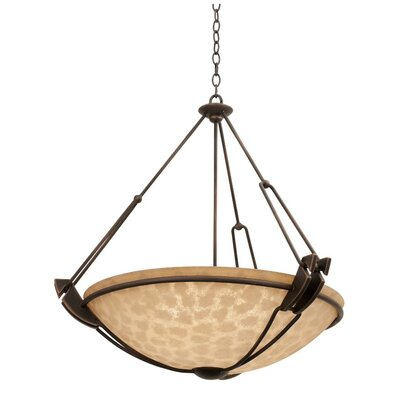 Grande 3-Light Bowl Pendant Finish: Antique Copper, Shade Type: Gold-streaked Amber