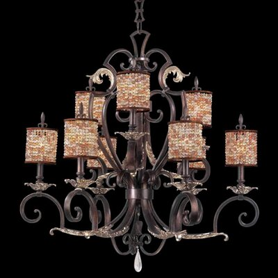 Chesapeake 9-Light Shaded Chandelier Finish: Tuscan Gold, Shade: Color Beaded Drum