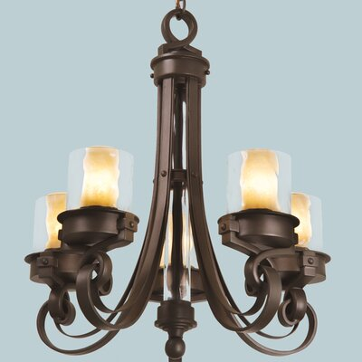 Newport 5-Light Shaded Chandelier Finish: Satin Bronze, Shade: Tea-stained glass