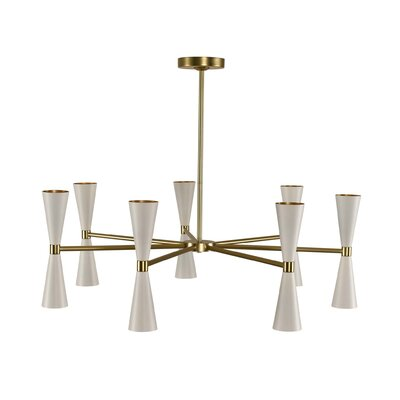 Lorie 14 Light Chandelier Color: White & Vintage Brass