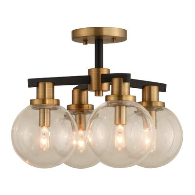 Cameo 4-Light Semi Flush Mount Finish: Brushed Pearlized Brass