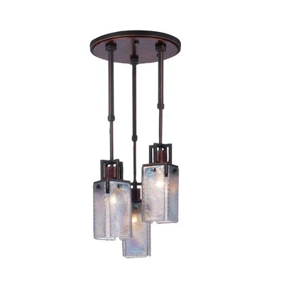 Bedford 3-Light Pendant Finish: Antique Copper, Shade: Iridescent Glass Panel 4-15/16 W x 10-5/8H