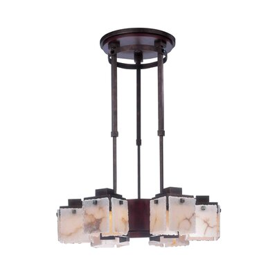 Bedford 6-Light Shaded Chandelier Finish: Tuscan Gold, Shade: Alabaster Glass Panel 5 W x 5-7/8H