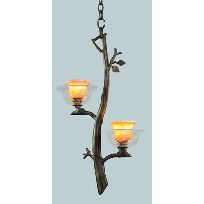 Cottonwood 2-Light Mini Pendant Finish: Sienna Bronze, Shade: Hand Painted Art Glass