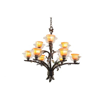 Cottonwood 9-Light Shaded Chandelier Finish: Aged Silver, Shade: Hand Painted Art Glass