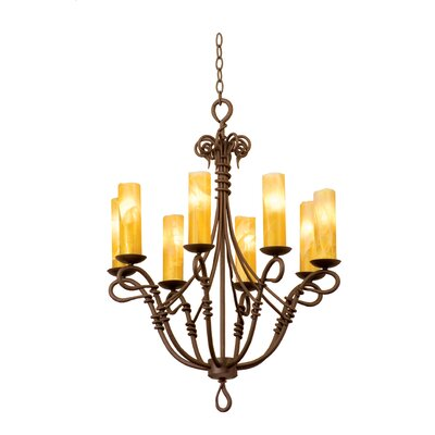 Vine 8-Light Candle-Style Chandelier Shade Type: Golden Beige Organza