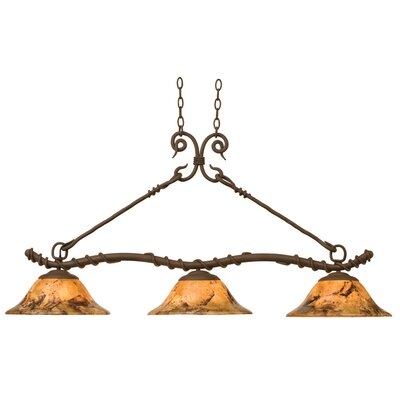 Vine 3-Light Kitchen Island Pendant Shade Type: Gold-Streaked Amber Bowl