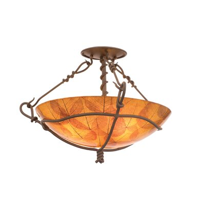 Vine 3-Light Semi Flush Mount Shade Type: Gold Streak Amber