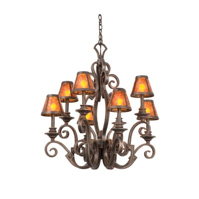 Ibiza 8-Light Shaded Chandelier Finish: Antique Copper, Shade Type: Small Silk Bell