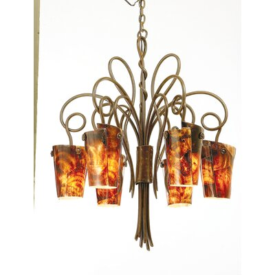 Tribecca 6-Light Shaded Chandelier Finish: Antique Copper, Shade: Tribecca Sunrise Side Glass
