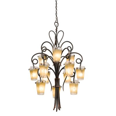 Tribecca 12-Light Shaded Chandelier Finish: Antique Copper, Shade: Antique Filigree Side Glass