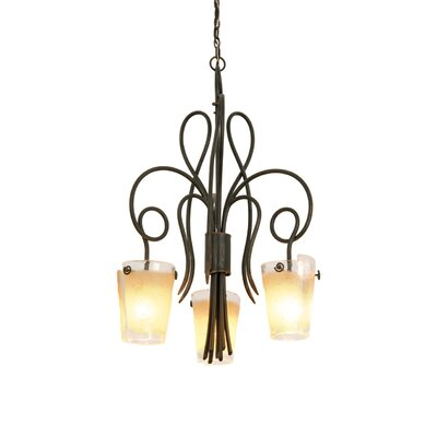 Tribecca 3-Light Shaded Chandelier Finish: Antique Copper, Shade: Tribecca Antique Filigree Side Glass