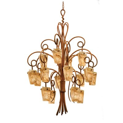 Tribecca 16-Light Shaded Chandelier Finish: Antique Copper, Shade: Tribecca Milky Way Side Glass