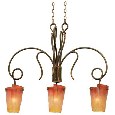 Tribecca 3-Light Kitchen Island Pendant Finish: Antique Copper, Shade: Tribecca Flame Side Glass