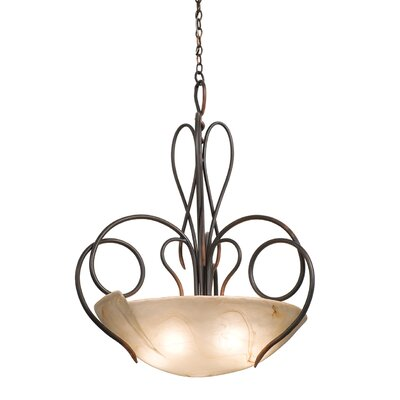 Tribecca 5-Light Bowl Inverted Pendant Finish: Antique Copper, Shade: Bowl glass, 28 Antique Filigree with 3 holes