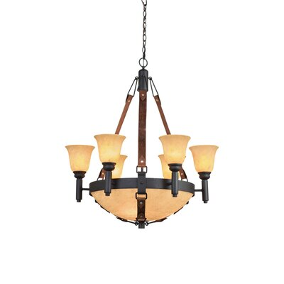 Rodeo Drive 9-Light Candle-Style Chandelier Finish: Antique Copper, Shade Color: Ecru