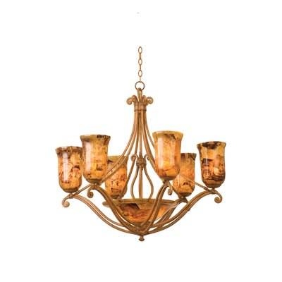 Somerset 8-Light Shaded Chandelier Finish: Tortoise Shell, Shade: Penshell
